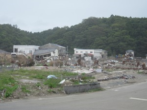 This entire area used to hold homes and businesses and is not laid flat from the tsunami.