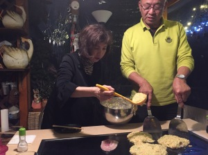 Our hosts made okonomiyaki for us, which had some bacon, lots of cabbage and batter.  Think of it as a savory (as compared to sweet) dinner pancake.